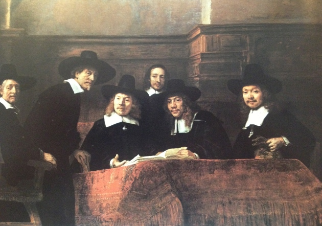 """The Sampling Officials of the Draper's Guild"" by Rembrandt 1662"