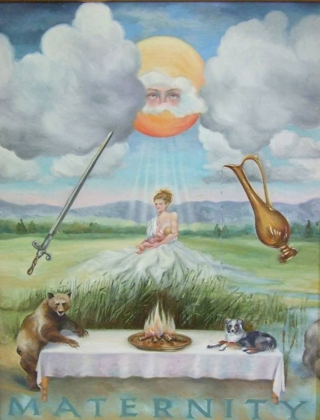 "Surrealism Painting of 'Maternity"" by Ginger Dean"