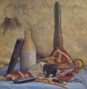 "A 'slow' painting with about 20 hours of work invested.  ""Daddy's Objects"" by Ginger Dean , oil on linen 20 x 20 in"