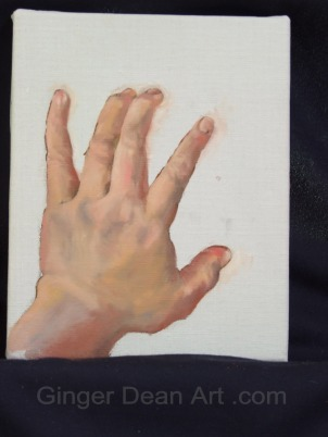 Left hand study.  Oil painting on linen 8 x 10