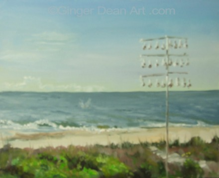 """Purple Martins on Edisto"" by Ginger Dean oil on linen 8 X 10 in"