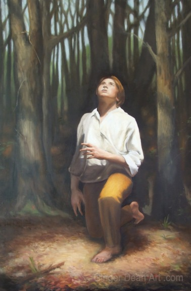 "Oil Painting ""Young Seeker"" by Ginger Dean oil on linen 30 x 20 in"