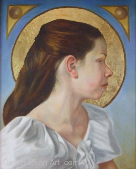 "Oil Painting ""Age of Accountability"" Profile of Young Girl in White Dress by Ginger Dean"