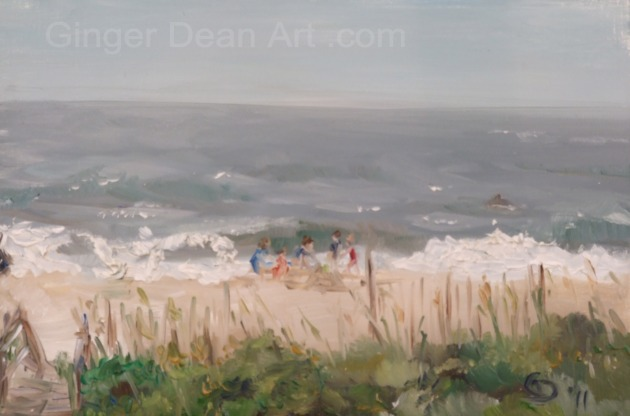 """Family on Beach"" by Ginger Dean oil on linen 8 x 10 in"