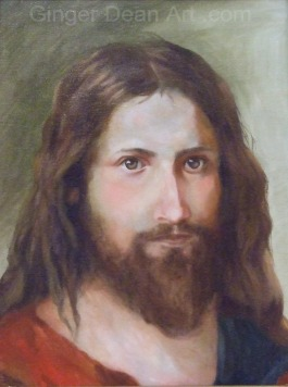 """Face of Christ"" was painted using only Ultramarine Blue, Cad Red, Cad Yellow, Burnt Sienna, and Titanium White.  Oil on linen 16 x  20 in."