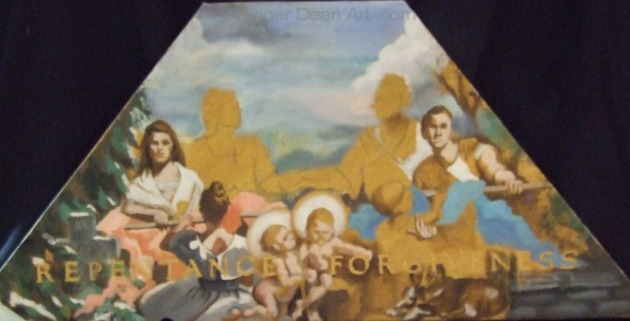 """The Family:  A Proclamation to the World"" Mural -""Winter"" Panel Study (unfinished) by Ginger Dean oil on linen 14 x 4 in"