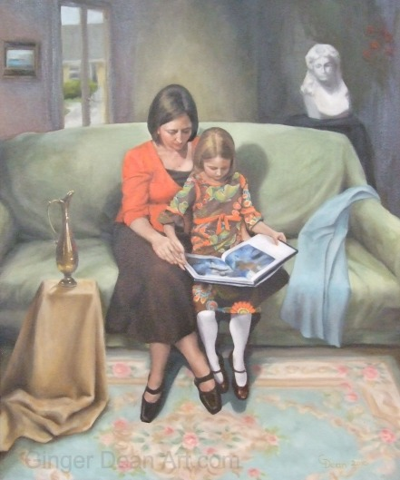 'Reading With My Child' by Ginger Dean oil on linen 20 x 24 in